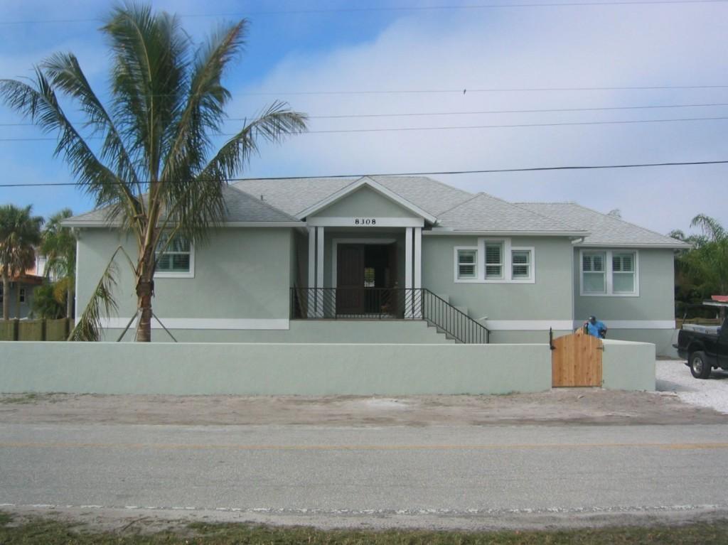New house construction on raised foundation
