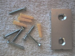 Mounting plate, wall anchors and screws