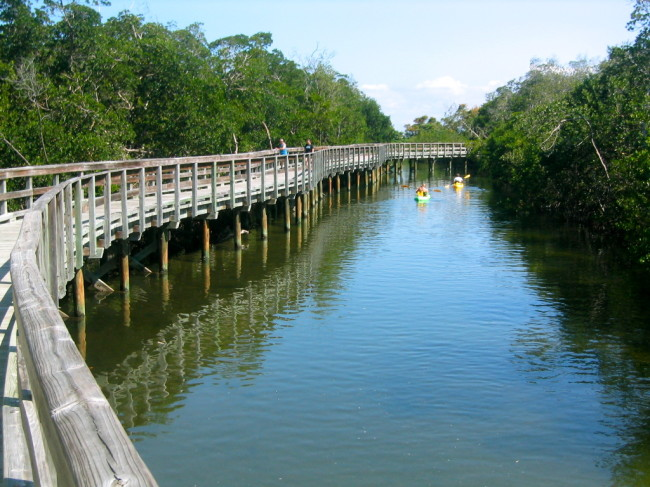 North of the observation tower, the trail crosses several waterways and follows the Tampa Bay shoreline