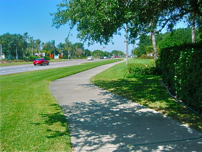 Sidewalk on Manatee Ave towards Anna Maria Island bridge and beaches
