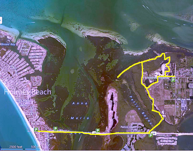 Holmes Beach to Robinson's Preserve area map