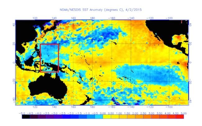 2015 Western Pacific Sea Surface Temperature Anomaly - El Nino