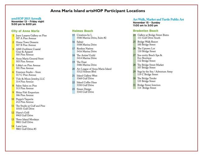artsHOP 2015 locations