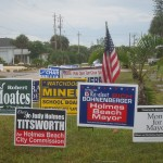 Candidate's signs vie for attention at the 2012 election polling location