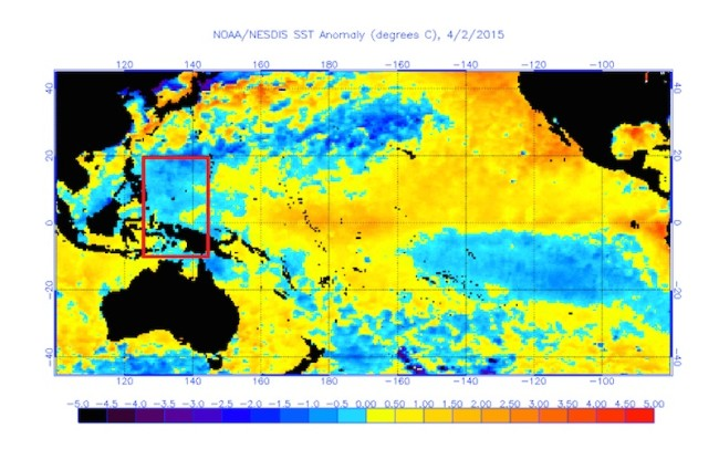 2015 Western Pacific Sea Surface Temperature Anomaly - El Nino